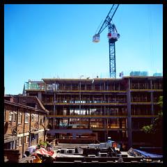 Ealing Filmworks (Jamie Langford) Tags: velvia50 rolleiflex t35 120film ealingbroadway filmworks construction crane