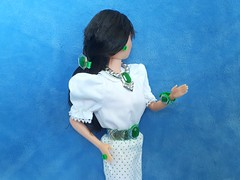 Barbie Jewel Secrets Jewelry Emerald Collection #1924 from 1986 (VintageZealot) Tags: barbie mattel jewel secrets jewelry emerald collection silver green 1924 1986 vintage retro fashion doll accessories 80s 1980s hong kong belt bracelet barette ring earring earrings necklace dotw oriental 1980 3262 heart family mom mother 9595 1984 1985 finds 2740 1989 1990 1990s 90s woolworth exclusive special expressions 4842 clothing clothes outfit model modelling kira asian raven black brunette taiwan elastic metal snaps white poofy blouse lace pumps bow polka dots skirt sleeves top shirt