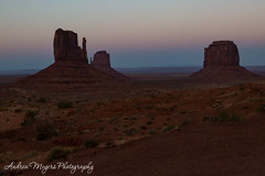 Sunset on The Mittens and Merrick Buttes, Monument Valley, Arizona (Andrea Meyers) Tags: 2018 organrockshale sunset sandstone theviewhotel dechellysandstone arizona navajotriballands monumentvalley cutlerformation june24 buttes