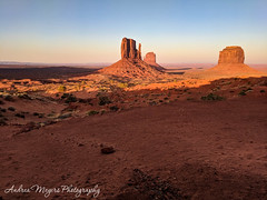 Sunset on The Mittens and Merrick Buttes, Monument Valley, Arizona (Andrea Meyers) Tags: 2018 organrockshale sunset sandstone theviewhotel dechellysandstone navajotriballands arizona monumentvalley cutlerformation june24 buttes