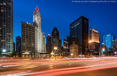 Michigan-Wacker Historic District (20190525-DSC03453-Edit) (Michael.Lee.Pics.NYC) Tags: chicago wackerdrive michiganavenue bridge michiganwackerhistoricdistrict wrigleybuilding tribunetower medinahathleticclub intercontinentalhotel lighttrail traffic night twilight bluehour longexposure sky shiftlens architecture cityscape sony a7rm2 laowa12mmf28 magicshiftconverter