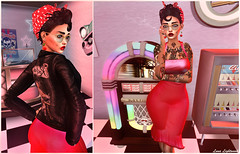 Look At You Smoking In Them Neon Lights (Hanna ☾ Luna) Tags: new post blog blogger virtualdiva melinda 50s 60s rockabilly modern tattoos alternative diner cute colors sense event fashion style secondlife