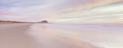 Pastel Morning (rubberducky_me) Tags: nobbysbeach nobbys beach ocean water sunrise pastel pink lighthouse velvia linhof linhoftechnorama film panorama 251