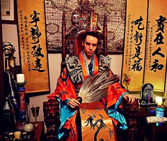 Chinese Emperor Robes (LordJoshAllenLAMAT) Tags: longhair lordjosh lordjoshallen eccentric expensive english mensclothes shirt fashion fashionable formal fancy attire spirituality mensfashion jacket dandy male hairstyle magician magick chinese robe robes fengshui unique sunglasses bespoke blazer kongming zhugeliang emperor taoism taoist red redclothes royal throne daoist daoism