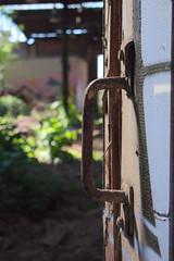 Detail (Gajoma) Tags: raw reichsbahnaubesserungswerk isolatoren detail trümmer industrie holz schutt schuttberg schornstein heizhaus magdeburg halle werksstrase fenster verlassen leer historisch