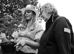Peony Admirers (Bury Gardener) Tags: helminghamhall helmingham suffolk streetphotography street snaps strangers streetcandids candid candids people peoplewatching folks england eastanglia uk 2019 fuji fujixt3 fujifilm bw blackandwhite britain monochrome mono