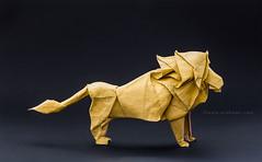 Hideo Komatsu Origami Lion (Himanshu (Mumbai, India)) Tags: origami lion hideo komatsu himanshu mumbai india orukami origamihim animal handmade paper art craft