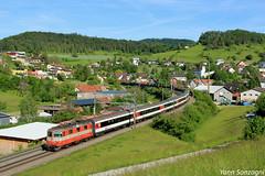 Orangeade suisse (Lion de Belfort) Tags: train chemin de fer suisse schweiz aargau argovie zeihen sbb cff ffs re 44 420 swiss express inter regio ir interregio ii 11108 laufenburg