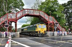 All Eyes (whosoever2) Tags: uk united kingdom gb great britain nikon d7100 train railway railroad may 2019 oakham rutland freightliner class66 66529 4m81 felixstowe crewe intermodal bridge level crossing