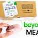 Man hand holds a frozen burger patty by beyond meat burger, infant of the ten pieces burger box package, for vegan, gluten free and soy free diet
