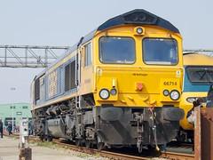 Class 66 714 - Long Rock Depot (StarRaid) Tags: railways rail uktrains uk britishrailways trains cornwall longrockdepot depot gbrf class66 shed emd