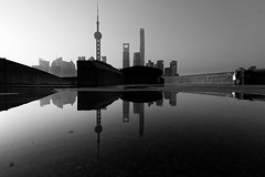 Shanghai mirrors (Sophie et Fred) Tags: china chine shanghai bund pudong skyline skyscraper gratteciel reflection reflet mirror water pearl tower jinmao wfc bw nb