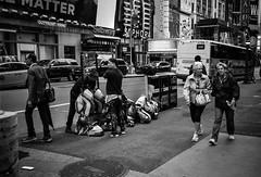 FILM - Bumblebee preparations (fishyfish_arcade) Tags: 35mm analogphotography bw blackwhite blackandwhite canonsureshotz135 filmphotography filmisnotdead hp5 istillshootfilm monochrome newyork analogcamera compact film ilford mono streetphotography 42ndstreet bumblebee transformers costume