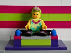 Hula Lula is a DJ (sander_sloots) Tags: hula lula dj disc jockey music lego doesburg dctz90 lumix panasonic bricks moc afol stenen muziek stage records platen hulalula colours kleuren cmf series movie legomovie turntable draaitafel console girl minifig minifiguur