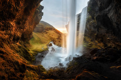 Sunlit Cavern (Pete Rowbottom, Wigan, UK) Tags: iceland waterfall kvernufoss sunset light water cave cavern cliff river nature beauty awe peterowbottom nikond810 landscape nisifilters fotopro flickr photography landscapephotography