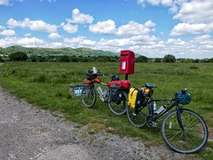 Post box and bicycles near Malvern Hills