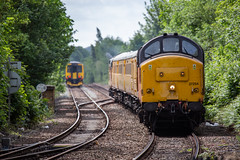 Colas Railfreight Class 37 no 37254 leads 37219 as they approach Mansfield Woodhouse on 03-06-2019 with an RTC to Leeds Balm Road Test Train (kevaruka) Tags: 37254 37219 mansfieldwoodhousestation mansfield nottinghamshire 03062019 june spring sun sunshine sunny sunnyday class37 tractor syphon growler colour colours color colors colasrailfreight networkrail testtrain britishrail england englishelectric yellow orange green trees outdoors railway robinhoodline robinhood canon canoneos5dmk3 canon5dmk3 canonef100400f4556l telephoto telephototrains composition locomotive 5d3 5diii 5d 5dmk3 flickr frontpage