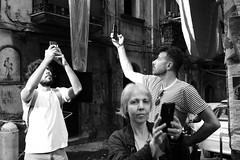(Get Signal) (Robbie McIntosh) Tags: leicam9p leica m9p rangefinder streetphotography 35mm leicam summilux leicasummilux35mmf14i summilux35mmf14i autaut summilux35mmf14preasph man strangers napoli spanishquarters procession religion santarita santaritaallasperanzella