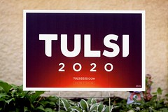2020 presidential campaign yard sign for Hawaii U.S. Representative Tulsi Gabbard.  Ms Gabbard is the first American Samoan and the first Hindu to serve in the United States Congress (thstrand) Tags: woman usa signs hawaii us women election colorful unitedstates american americans candidate brightcolors elections campaign democrats democrat democratic candidates yardsign campaigns runningforoffice usrepresentative tulsigabbard americansamoan 2020presidentialcampaign 2019 female polynesia politics politicians politician government hindu federalgovernment politicalleader samoanamerican