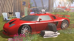 Red flash (Rose Sternberg) Tags: june 2019 second life deco decor home garden fingers up event tm creation lets go sport car with decors anims for cat cats floral flowers suitcases blanket stone pathway red