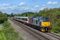 37601 London Overground 710268 and 57305 work 5Q72 Old Dalby to Willesden seen at Whissendine (Iain Wright Photography) Tags: bombardier rail operations group rog aventra 710268 old dalby test track willesden tmd brand knew new unit emu whissendine rutland pole aerial nikon d7200 class57 class710 class37 tractor ronnie 5q72 via corby branch sunshine