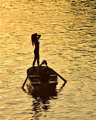Evening on Vltava river (Pavel's Snapshots) Tags: girl woman female guy man male silhouette posing river lake water sea calm still quiet evening summer sunset boat wooden vacation holiday weekend prague praha czechrepublic vltava nikon nikkor d750 180mm romantic photographer pair couple sunny nice cute dress