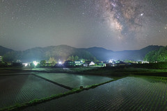3330 (Keiichi T) Tags: 6d canon eos 日本 japan milkyway sky winter 光 天の川 影 green 水 reflection shadow 村 夜景 建物 星 star mountain night 田んぼ water 空 夜 夜空 山 緑 architecture ricefield village リフレクション light