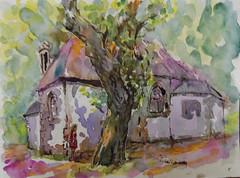 Chapelle Saint Léger à Riec sur Belon (christian angué) Tags: chapelle campagne architecture vegetation patrimoine breton finistere bretagne aquarelle croquis dessin