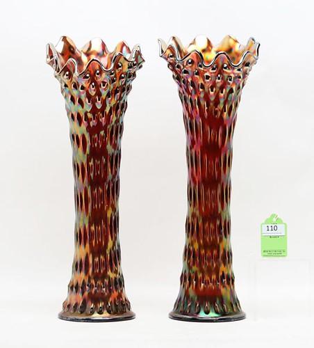 Fenton Amethyst Rustic Funeral Vases, Pair ($896.00)