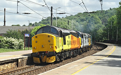 A Trio Of Tractors (2) (Neil Harvey 156) Tags: railway 37521 37075 37025 invernesstmd keighleystation keighley airevalley locomove 0z37 class37 colasrail colas railfreightunbranded brlargelogo