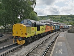 Colas Rail Freight Class 37s 37521 & 37025 'Inverness T.M.D.' 37075 - Keighley (dwb transport photos) Tags: colasrailfreight locomotive tractor 37521 37025 37075 keighley keighleyworthvalleyrailway