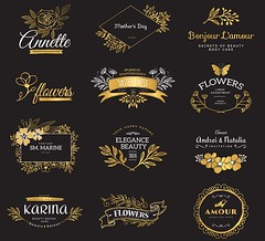 Set of gold luxury logos (SuperStarDesigner) Tags: illustration design vector background element graphic line decoration decorative art swirl set symbol floral icon style frame vintage card ornament retro invitation flower border wedding template greeting page elegant classic label logo sign emblem calligraphic flourish antique old calligraphy engraved vignette heraldry luxury modern ornamental book decor classical monogram gold