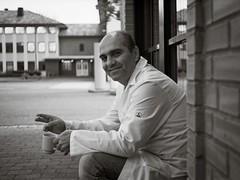A short time relaxing (Geir Bakken) Tags: man portrait coffee smoking sitting blackandwhite bw film filmisnotdead filmphotography filmcamera 35mmfilm analog analogue analogphotography ilovefilm rolleirpx rolleirpx25