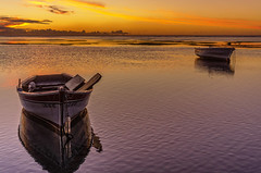 low tide.... (Malaquin Eric ........ thanks for your visits & co) Tags: lagoon lowtide fishingboat fishingboats lagon ericmalaquin 35mm endoftheday twilight sea seaside seascape sunset water reflection sky boat barque coucherdesoleil clouds crepuscule
