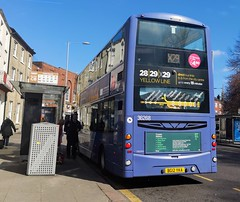 First Norwich 36268 is loading up at a bus stop on Castle Meadow while on route X29. - BG12 YKA - 1st April 2019 (Aaron Rhys Knight) Tags: firsteasterncounties firstnorwich yellowline 36268 bg12yka 2019 castlemeadow norwich norfolk first volvob9tl wrighteclipsegemini2