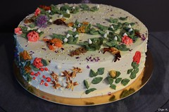 Herbal Cake (Olga K.131313) Tags: herbal cake herbata flowers dried cream cheese chocolate white biscuit leaf green colored colorfull sweets happybirthday gift bakery homemadefood handmade homemade art herbarium decoration
