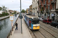 Canalside on Route 2 (crashcalloway) Tags: route2 navigliogrande canal tram trams interurban trolley milan milano italy italia 4700series