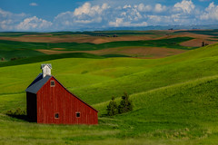 Palouse Red Barn by Scott Donschikowski.jpg (Scott Donschikowski) Tags: palouse summer barn northwest blue idaho redbarn farming green rollinghills washington clouds