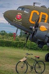 Betsy's Biscuit Bomber (nickym6274) Tags: shuttleworth oldwarden bedfordshire flyingfestival 2019 dakota dc3 betsysbiscuitbomber vintagebicycle bicycle 348608 aeroplane aircraft ai