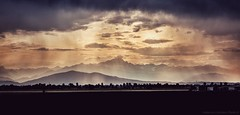 A soft light ... ( Monviso mountain seen from Fossano, Piedmont, Italy). (Federico Fulcheri Photo) Tags: federicofulcheriphoto©️ italy piedmont fossano tourism travel silence sky clouds sun sunset silhouette agriculture rural monviso mountains horizon landscape nature nopeople outdoors snapseed canonitalia canon