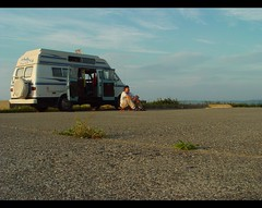 answering the call (Gordon Hunter) Tags: travel explore camper campervan van auto vehicle guy man outdoor evening contemplation pavement cement concrete summer newfoundland canada gordon hunter sony cybershot