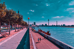 DUESSELDORF, GERMANY - AUGUST 17, 2016: The Rhine promenade with its plane avenue invites for a shaded walk with a scenic river view. (axel-d-fischer) Tags: known promenade shopping dusseldorf beer attractive summer warm scenic rhine historicbuilding platanes altbeer visitors old historic germany buildings vintage brewery german town sightseeing drink famous scene urban food duesseldorf summertime planeavenue deutschland august restaurants atmospehre altstadt europe drinks tourists