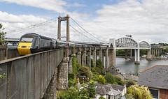 The Tamar Bridges (powern56) Tags: cornwall saltash saltashstation rivertamar tamarbridges royalalbertbridge ikbrunel brunel railwaybridge gwr greatwesternrailway class43 43016 hst passengertrain railway