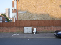 No dumping! (roadscum) Tags: england london barking house wall fence street sign cabinet toilet dumped