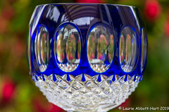 20190603Crystal Blue28036-Edit (Laurie2123) Tags: ad200 laurieabbotthartphotography laurieturnerphotography laurietakespics nikkor105mm nikond800 odc odc2019 ourdailychallenge waterford blue crystal macro offcameraflash fuchsia bokeh