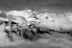 Misty Mountains (ellieupson) Tags: canmore canada mountain nationalpark banff alberta aerial helicopter blackandwhite cloud