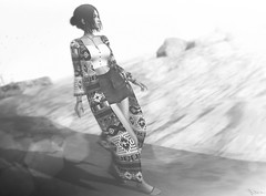 At the edge of the world (Neva Valon) Tags: sl secondlife bw blackandwhite monochrome monochromatic beach avatar virtual virtualworld virtuallife