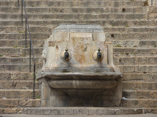 Tarragona Cathedral from Carrer Major, Tarragona - drinking fountain
