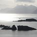 Sailboat nearing the port on Adak Island, Alaska