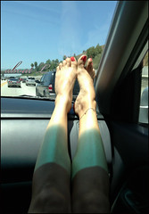 Summer Toes (Mr2D2) Tags: feet woman sexyfeet feetondash pedi pedicure wife latina footfetish anklet sexy inthecar sexyfun toes